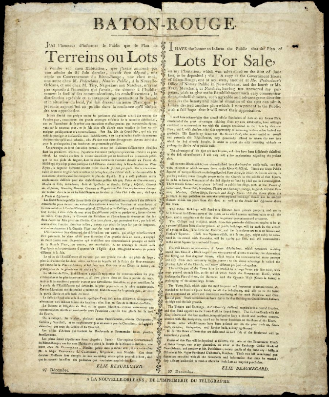 Lots for sale! Baton Rouge - circa 1806